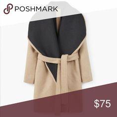 MANGO wide lapel wool blend coat Wool mix fabric, wide lapels, removable belt, long sleeve, side pockets, contrasting inner lining. Mango Jackets & Coats Pea Coats
