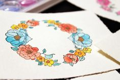 Use a Waterbrush to Make Watercolor Floral Wreath Cards: Experiment with Different Color Palettes and Combinations