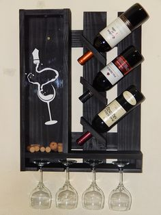 35 wine racks decorate your home life Creative wine racks in home life Hanging Wine Rack, Wine Glass Rack, Wine Rack Wall, Wine Rack Design, Rustic Wine Racks, Pallet Wine, Expensive Wine, Kitchen Decor Themes, Wine Cabinets