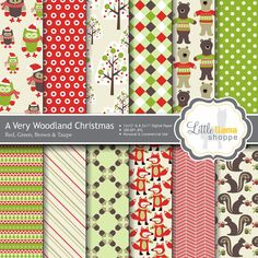 Woodland Christmas Digital Scrapbook Paper  -- bears in Christmas sweaters, foxes in scarves, and owls in hats and mittens!