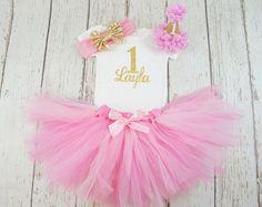 Mädchen 1. Geburtstag Tutu Outfit, Rosa und gold-Geburtstag-Outfit, Rosa Tutu, Baby-Mädchen, 1. Geburtstag Tutu, Rosa Tutu Rock, 2. Geburtstag-outfit