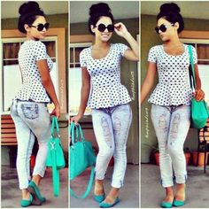 Love the peplum top the ripped jeans the bun the shoes , I love everything !~❤️~