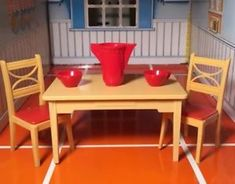 The dollhouse item were made in the USA! Miniature Dollhouse Furniture, Vintage Dollhouse, Dollhouse Miniatures, Kitchen Table Chairs, Kitchen Furniture, Vintage Toys, Doll Houses, Minis, Plastic