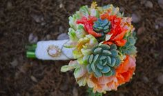 Coral, peach, and green bouquet of succulents, and parrot tulips. Succulent Wedding Centerpieces, Wedding Bouquets, Floral Wedding, Wedding Flowers, Wedding Blush, Dream Wedding, Blue Wedding, Cactus Wedding, Quirky Wedding