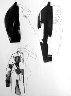 Fashion Sketchbook page - fashion design drawings; fashion illustration; fashion portfolio // Connie Blackaller