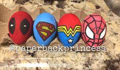 Marvel inspired Easter Eggs, Spider-Man Easter Egg, Superman Easter Egg, Wonder Woman Easter Egg, Deadpool Easter Egg