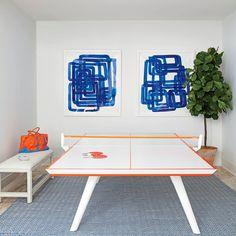 Game Room - 2016 Hamptons Showhouse Photo Tour - Coastal Living // Ping Pong Table