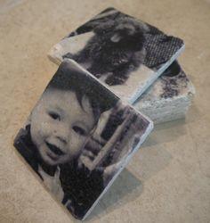 DIY Travertine Photo Coasters- great gift idea from Cheap Crafty Mama!