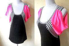 Summer Sale: black and neon pink color block with stripes A line dress (small) by VintageHomage