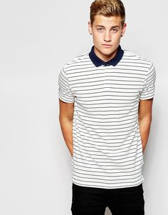 New Look Striped Polo Shirt with Cut and Sew Collar