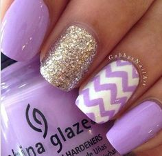 Purple and white cheveron, and glitter makes the perfect nail designs.