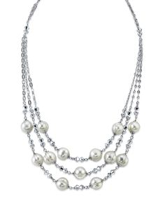 Radiance Pearl Pearl & Crystal Faceted Triple-Strand Necklace