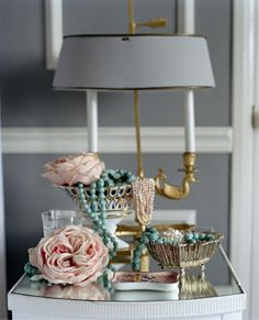 Desk inspiration for Emily-white, grey, gold with dusty pink inside drawers