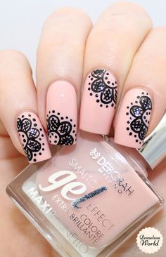 22 Most Eye-Catching Nail Art Designs to Inspire You - Fashionmgz Nail Art Designs, Lace Nail Design, Lace Nail Art, Dot Nail Art, Lace Nails, Polka Dot Nails, Nail Art Orange, Orange Nails, Nail Art Dentelle