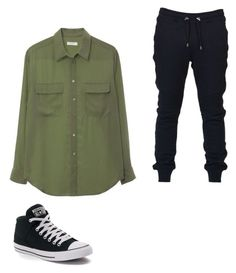 """""""Another OC"""" by drawinxouo on Polyvore featuring Equipment, Balmain, Converse, men's fashion and menswear"""