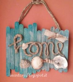 Handmade Home Decor Kids Crafts, Diy Home Crafts, Decor Crafts, Seashell Crafts, Beach Crafts, Summer Crafts, Diy Popsicle Stick Crafts, Popsicle Sticks, Wood Sticks Crafts