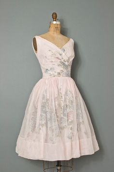 1950s floral party dress. Classic and different duds for saying your vows in!