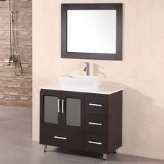 "dCOR design Pratt 36"" Single Modern Bathroom Vanity Set with Mirror"