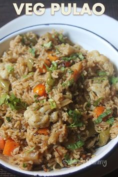 Restaurant Style Vegetable Pulao Recipe (Pulav Recipe) with step wise pictures. Simple and flavourful vegetable pulao which taste so yummy with onion raita or any curries. This is a yummy lunch box recipe too.