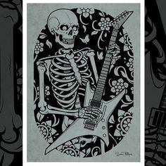 My Skeleton playing guitar print design is now available on products and as an art print at @society6 www.society6.com/samphillips #guitar #skeleton #samphillips #samphillipsillustration #print #society6 #vector #vectorart #skull #tattoo
