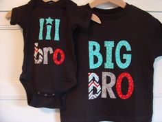 Big Brother Little Brother Matching Shirt and Onesie - Black, Celebration Chevron