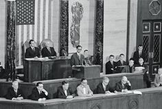 The king addresses a joint session of the US Congress on 29 June 1960.