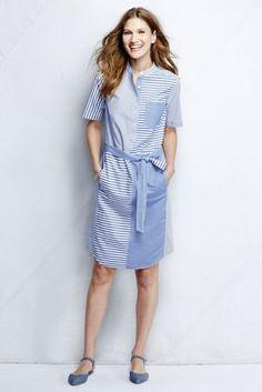 Women's Short Sleeve Shirtdress - Stripe Mix from Lands' End