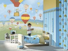 Hot Air Balloon Wallpaper Elephants Wall Mural Children's