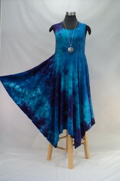 Size Medium bamboo tie dye dress in hues of blue, purple, and green. Style #D782B by qualicumclothworks on Etsy