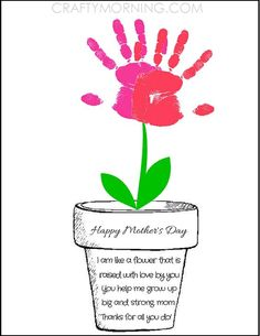 Printable Poem Flower Pot for Mother's Day - Kids can syamp their handprints to make flowers! Crafty Morning