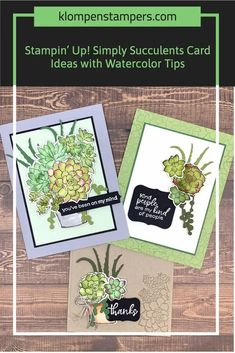 The Stampin' Up! Simply Succulents bundle is super fun and I've got several card making ideas to show you with watercolor greeting cards, die cut cards, thank you card ideas and much more. Follow along at www.klompenstampers.com #stampinupsimplysucculents #simplysucculentsstampinup #stampinupcards #stampinup #diycards #jackiebolhuis #klompenstampers Card Making Techniques, Card Making Tutorials, Watercolor Tips, Watercolor Paper, Die Cut Cards, Note Paper, Embossing Folder, Diy Cards, Stampin Up Cards