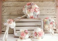 Pink blush mint ivory fabric flowers bouquets flower party set Hand made bu MY SECRET FACE