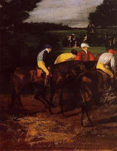 Jockeys at Epsom 1861-1862 | Edgar Degas | Oil Painting #horseracingpaintings #horsespainting