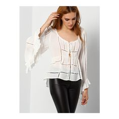SheIn(sheinside) White Bell Sleeve Hollow Lace Up Blouse featuring polyvore, women's fashion, clothing, tops, blouses, white, white bell sleeve blouse, white summer blouse, white long sleeve top, bell sleeve tops and white collared blouse