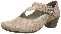 Rieker 42376 - zapatos de tacón cerrados de cuero mujer, color beige, talla 42