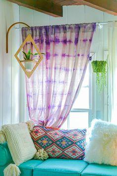 DIY dyed drop cloth curtains