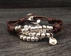 Leather Wrap bracelet Beaded Bracelet Leather by KuentaAlKuadrado