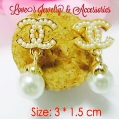 Designer gold & faux pearl C C   earrings New Designer gold & faux pearl C C   earrings Jewelry Earrings