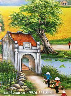 Một góc nhỏ trong toàn cảnh bức tranh vẽ sơn dầu quê hương