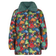 Oilily Baby Girls Multicoloured Mushroom Print Jacket with Detachable Faux Fur Collar. Available at www.chocolateclothing.co.uk