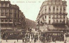 """Het \""""Point Centrale\"""" aan het begin ven de Nieuwstraat op het Rogierplein rond de jaren 1920"""