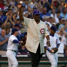Ernie Banks getting ready to throw out the first pitch before a 2007 playoff game.