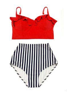Taille haute taille haute Pin up costume Bikini maillot de bain bain maillot de bain de bain porter: fil rouge armatures filaire haut et bande rétro bas S M L XL