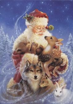 Dona Gelsinger BEAR-DEER-FOX-RABBIT-SANTA-WOLF Christmas Greeting Card #70