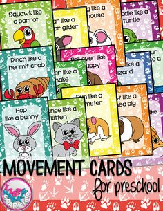 These pet shop animals themed movement cards will keep your students active while they're excited for the weather to warm up! Move like a bird, bunny, fish, guinea pig, hamster, kitten, lizard, puppy, snake, hermit crab, turtle, mouse, sugar glider, and a parrot! Keep those excited little ones busy indoors when it's too rainy to go outside! All while teaching them about different actions, animal names and improving their gross motor skills! Print, cut, and laminate!
