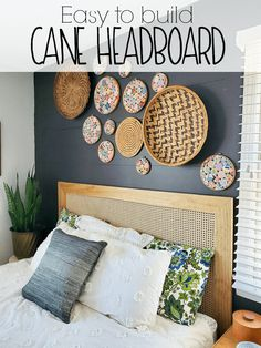 DIY Cane Headboard – Refresh Living Step by step on how to make a headboard using wood and caning material for a vintage modern feel on a budget! DIY Caned Headboard via Refresh Living Diy Bed Headboard, Make Your Own Headboard, Modern Headboard, Headboards For Beds, Making A Headboard, Headboard Ideas, Diy Headboard With Lights, Vintage Headboards, Pallet Headboards
