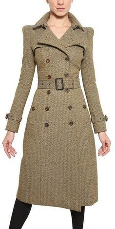 Burberry Tweed Herringbone Tweed Coat