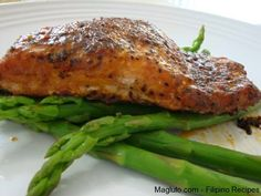 Ingredients: marinated salmon fillet (store bought) asparagus salt How to cook marinated salmon fillet: Preheat oven to 375 F Place marinated Pan Fried Salmon Fillet, Cooking Salmon Fillet, Pan Seared Salmon, Salmon Fillets, Baked Salmon, Salmon Marinade, Marinated Salmon, Steamed Asparagus, Salmon And Asparagus