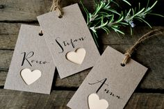 Wedding place cards/name tags by LaPommeEtLaPipe on Etsy