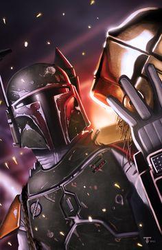 boba fett star wars fan art illustration of the most famous bounty hunter digital painting by juan fernandez on gods of art